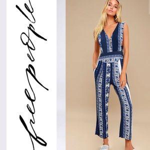 🆕 Free People Blue Print Sleeveless Jumpsuit